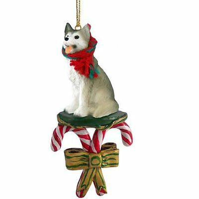 HUSKY Grey White Dog Candy Cane Christmas Tree ORNAMENT