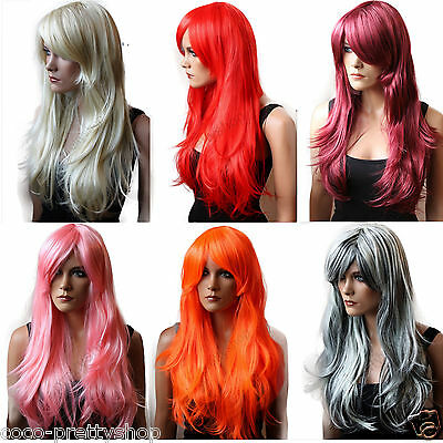 Perücke Wig Cosplay Fasching Karneval rosa pink rot schwarz blond div.Farbe