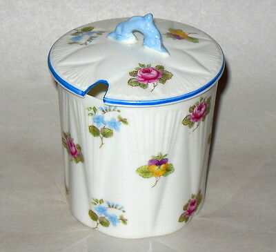 Shelley Bone China Condiment Mustard Jar w Cover Roses Pansies Forget Me Nots