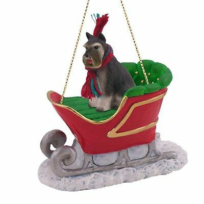 SCHNAUZER Grey Cropped Dog SLEIGH Ride Christmas ORNAMENT