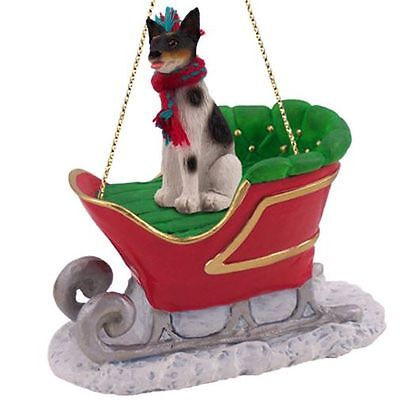 RAT TERRIER Dog SLEIGH Ride Christmas ORNAMENT