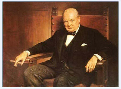 """Exquisite PORTRAIT OIL PAINTING ON CANVAS : """"WINSTON CHURCHILL""""(no framed)"""