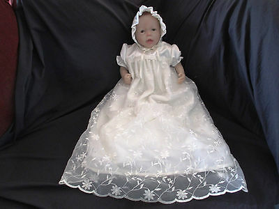 Girls Ivory Silk Shantung-Embroidered Organza Christening Gown Baptism  0-12M