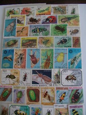 Timbres Animaux / Insectes : 50 Timbres Tous Différents / Animal Stamps Insects