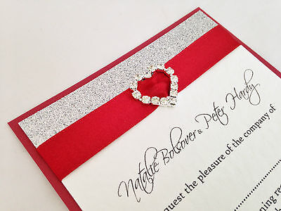 25 customised glitter buckle wedding day/evening invitations *All That Sparkles*