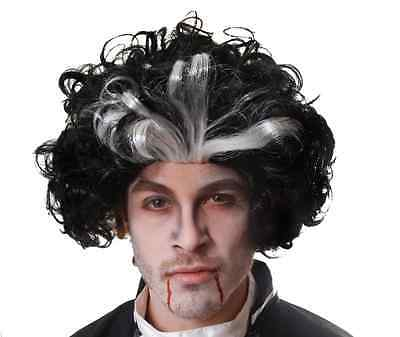 Black & White Sweeney Todd Wig Halloween Dracula Vampire Fancy Dress Costume