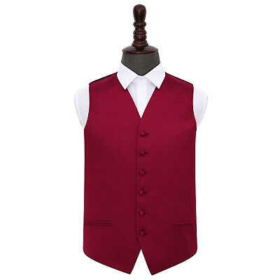 DQT Satin Plain Solid Burgundy Formal Tuxedo Mens Wedding Waistcoat S-5XL