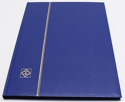 BLUE 16 Page Hardcover Stamp Stock Book, BLACK Pages, Double Glassine, 9 Strips