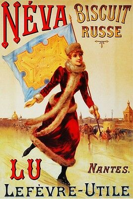 3006.Neva Biscuit Russe POSTER.Art Nouveau Ice Skating Room home wall decoration