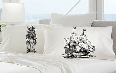 Two (2 for 20) Black beard Pirate and Clipper Ship Nautical Pillow case cover