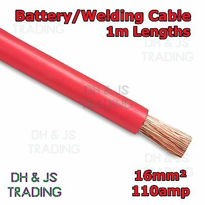 1m Red Battery Welding Cable 16mm² 110a - Flexible Marine Boat Automotive Wire