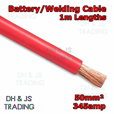 1m Red Battery Welding Cable 50mm² 345a - Flexible Marine Boat Automotive Wire