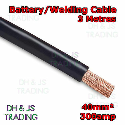 3m Black Battery Welding Cable 40mm² 300a - Flexible Marine Boat Automotive Wire