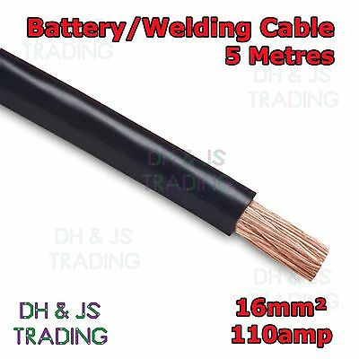 5m Black Battery Welding Cable 16mm² 110a - Flexible Marine Boat Automotive Wire