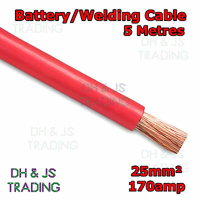 5m Red Battery Welding Cable 25mm² 170a - Flexible Marine Boat Automotive Wire