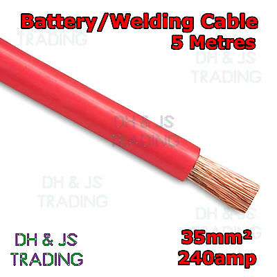5m Red Battery Welding Cable 35mm² 240a - Flexible Marine Boat Automotive Wire