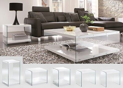 Olympia Designer High Gloss White Tables With Tempered Glass Sides