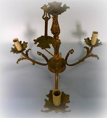 french vintage bronze chandelier three arm