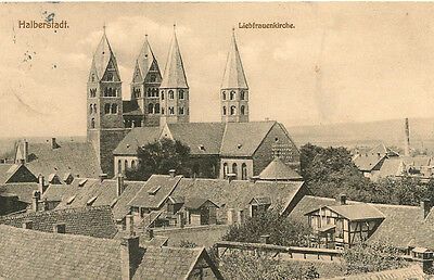 """GERMANY ,HALBERSTADT, VIEW 'OUR LADY CHURCH"""" POSTED KLEINWANZLRBEN, 30-12-1910"""