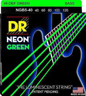 DR NEON NGB5-40 HiDef NEON GREEN COATED BASS STRINGS, LIGHT GAUGE 5's - 40-120
