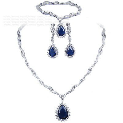 V48 S. Crystal 18K WGP Blue CZ Earrings Bracelet Necklace Set Ring Size 7