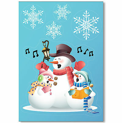 Singing Snowmen Vinyl Window Sticker + 32 Snowflake Clings Christmas Decorations