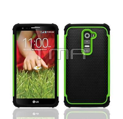 Impact Rugged Hybrid Dual Layer Shock Proof Case For LG G2 D801 D802 - Green