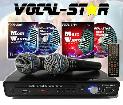 Vocal-Star Portable Black Karaoke Machine Speaker 2 Microphones Bluetooth 60w MT