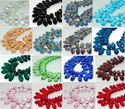 10PCS Teardrop CRYSTAL GLASS LOOSE BEADS 10*20MM  Variety of colors