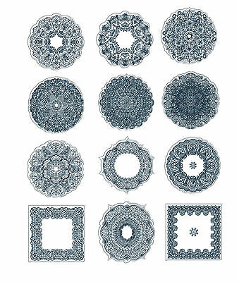 """ABC Designs Coasters Ornaments Machine Embroidery Designs SET 5""""x7"""" hoop 3 sizes"""