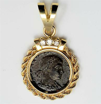 Ancient Roman Bronze coin Constantius II AD 336-361 in 14kt Gold Diamond Pendant