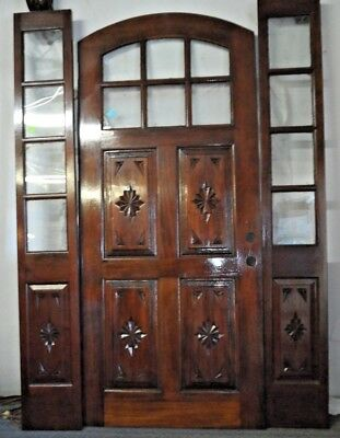 Hand Carved 4 Panel/ 6 Panel glass Arch Entry Door D-A