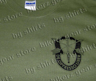 Special Forces Green Berets Army Crest Spec Ops Airborne OD Green t shirt S-3XL