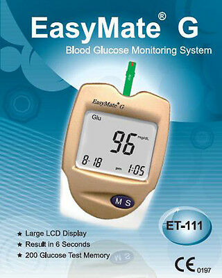 Blood Glucose Monitor Kit - EasyMate - Accurate, Easy to Use, Strips incl - NEW