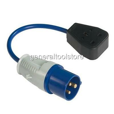 16 A - 13 Amp Generator Fly Lead Round Plug To 3 Pin Socket 230 - 240 Volt