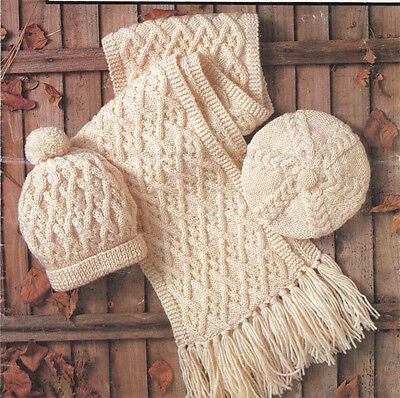 Knitting pattern - Ladies- Gents- Childs Aran Scarf- Beret and Hat