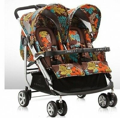 Zooper 2011 Tango Twin Stroller In Jungle Earth New