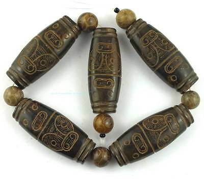24x60mm Rice Carved Coffe Jade Loose Gemstone Beads 15''