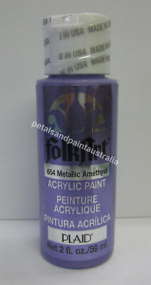 59ml Plaid Folk Art Acrylic Paint 654 Metallic Amethyst For Painting & Craft