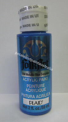 59ml Plaid Folk Art Acrylic Paint 656 Metallic Blue Sapphire Painting & Craft