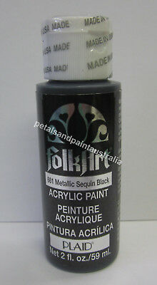 59ml Plaid Folk Art Acrylic Paint 661 Metallic Sequin Black For Painting & Craft