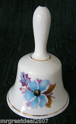 Blue Floral Collectable BELL  -  Fine Bone China -  ASHLEYDALE England
