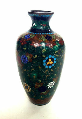 JAPANESE Meiji Period Early Cloisonne Metal Small Vase Flowers Antique