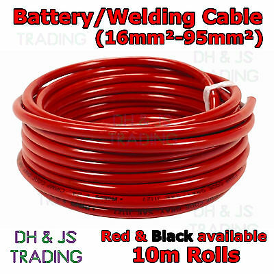 10m Red & Black Battery Welding Cable 16mm² - 95mm² Flexible Marine Boat Wire