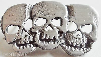 Triple Death Skull Pin Badge - Hand Made in English Pewter