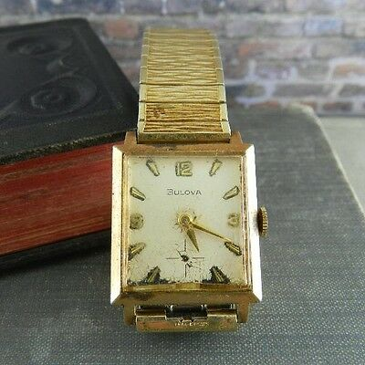 Vintage Bulova 8AC 21Jewel 10K Rolled Gold Plate Case & Band