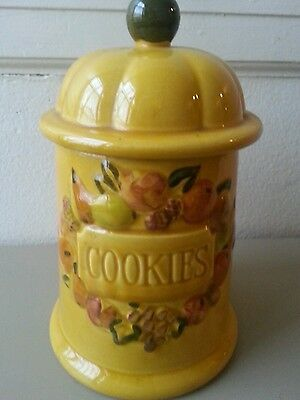 Cookie Jar With Cookies On The Front & Fruit Around It  NICE !!! & Huge !