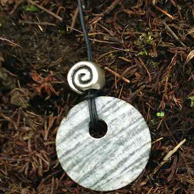 Hand cut Connemara marble pendant with Celtic spiral bead.Jewelry gift Irish