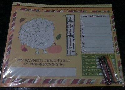 4 Kids Thanksgiving Activity Paper Placemats *Decorate Color Your Own *Crayons