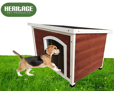 Heritage Wooden Dog Kennel House Shelter Kennels Pet Insulated with Curtain Door